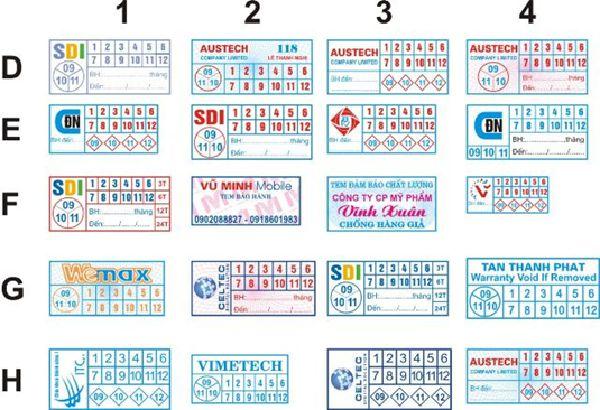 Các mẫu tem hình chữ nhật thông dụng