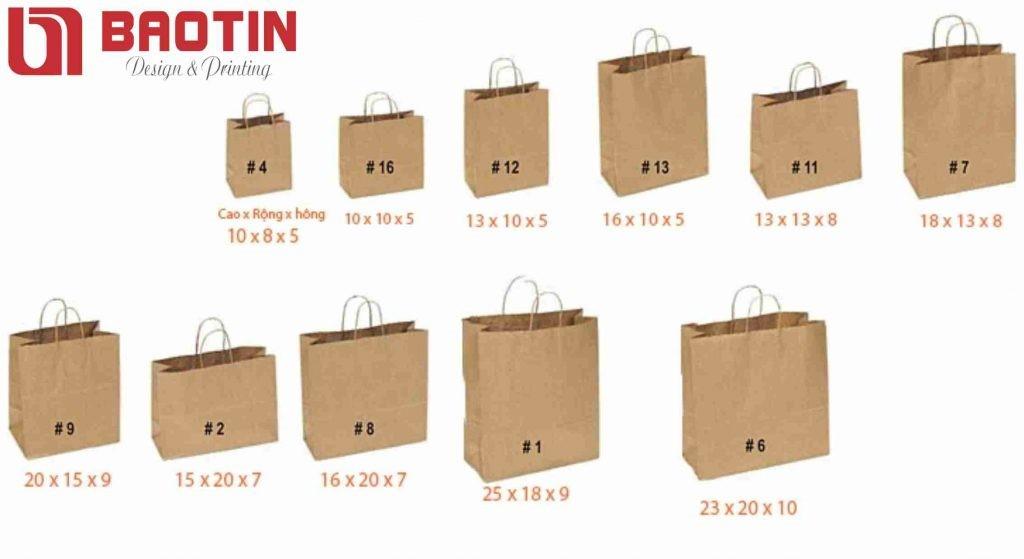 Các kích thước khi in túi giấy