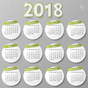 2018 year calendar design. Vector illustration Eps 10