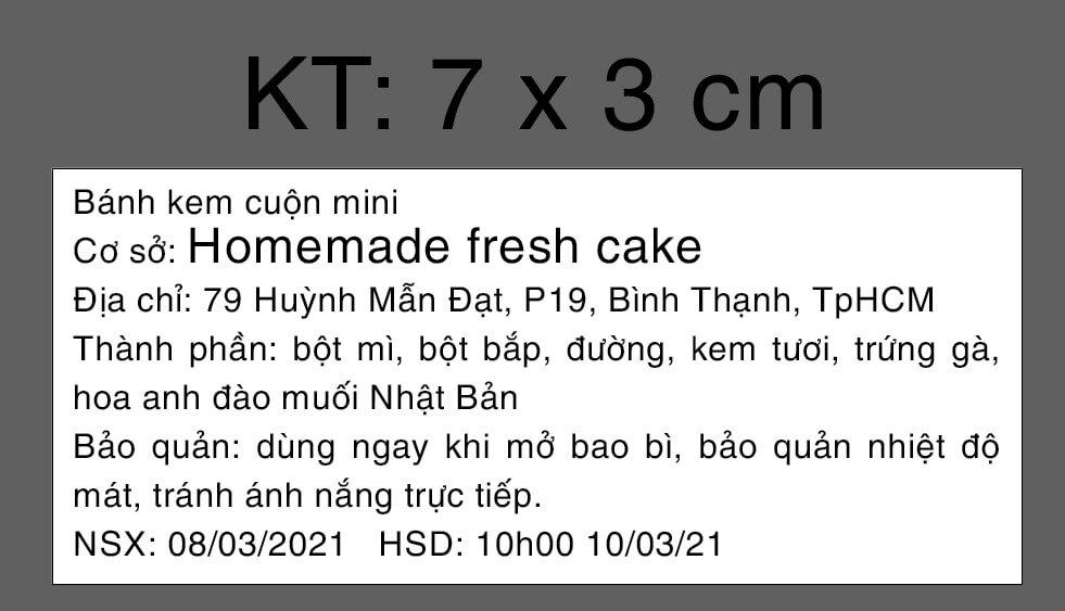 In tem phụ bánh kem