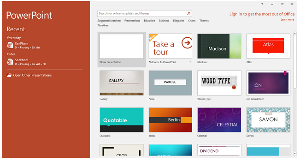 Trong PowerPoint có nhiều mẫu thiết kế đẹp mắt để làm catalogue