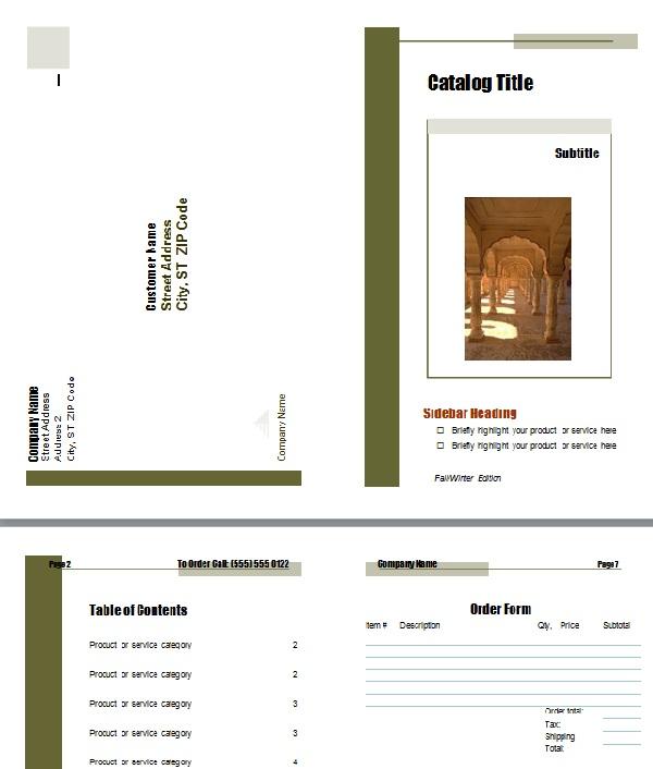 Một trong những mẫu catalogue trên Word