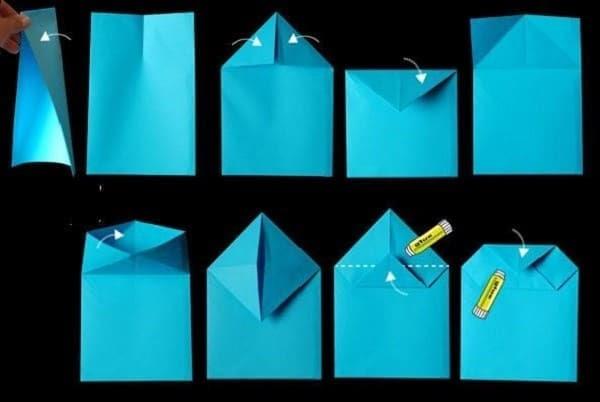 Gập theo hình trên để làm phần đáy túi giấy handmade