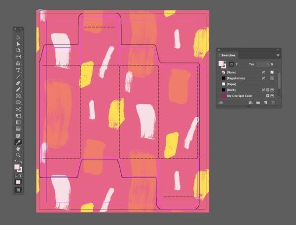 Chọn màu hồng nhạt từ mẫu hoa văn bằng công cụ Eyedropper Tool
